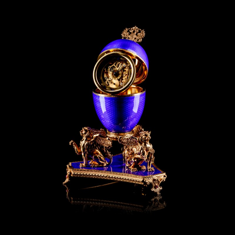 Imperial Cobalt Blue Enamel Skeleton Clock Egg